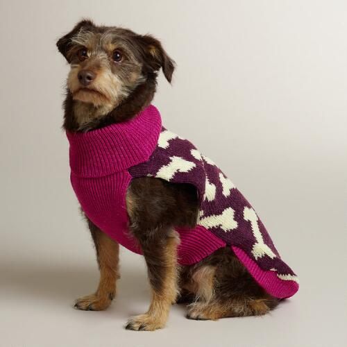 Pink and Purple Bone Knit Dog Sweater