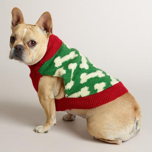 Red and Green Bone Knit Dog Sweater