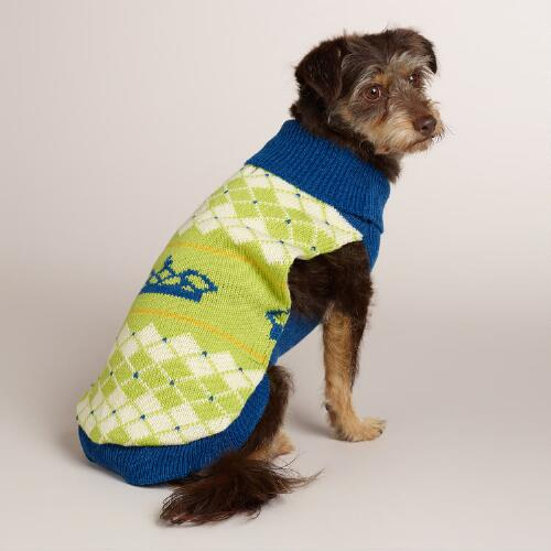 Blue Crown Knit Dog Sweater