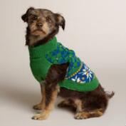 Green Argyle Knit Dog Sweater