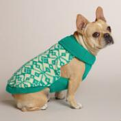 Turquoise Geo Knit Dog Sweater