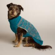 Blue Snowflake Knit Dog Sweater