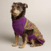 Purple Snowflake Knit Dog Sweater
