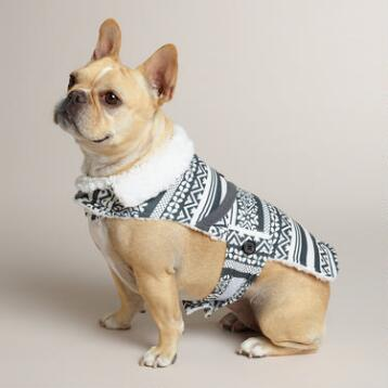 Gray Fair Isle Fleece Dog Coat with Sherpa Lining