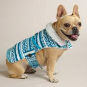 Turquoise Fair Isle Fleece Dog Coat with Sherpa Lining