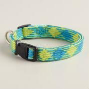 Blue and Green Woven Dog Collar