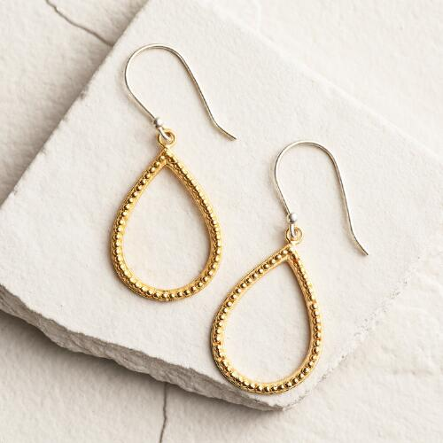 Small Gold 2-Tone Teardrop Earrings