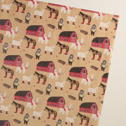 Farm Kraft Wrapping Paper Roll