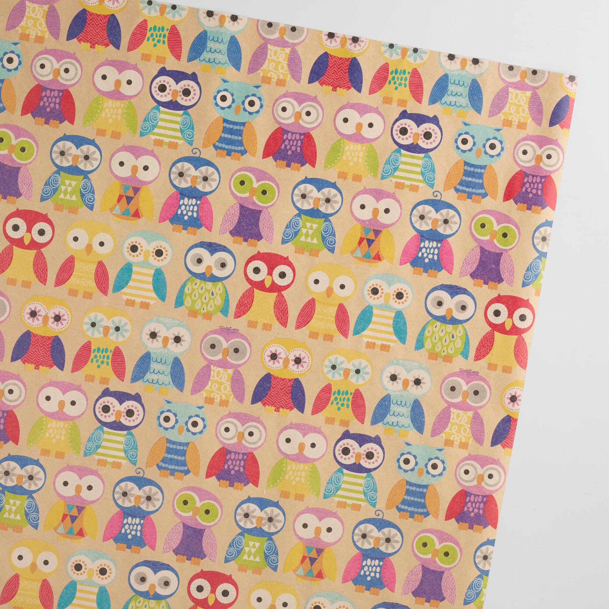 Birthday Owls Kraft Wrapping Paper Roll | World Market