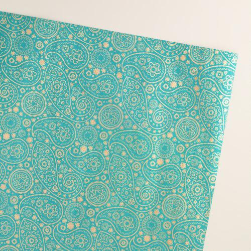 Gold and Teal Paisley Handmade Wrapping Paper Rolls, 3-Pack