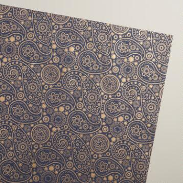Gold and Blue Paisley Handmade Wrapping Paper Rolls, 3-Pack