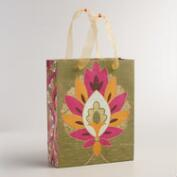 Large Green Floral Tile Handmade Gift Bag