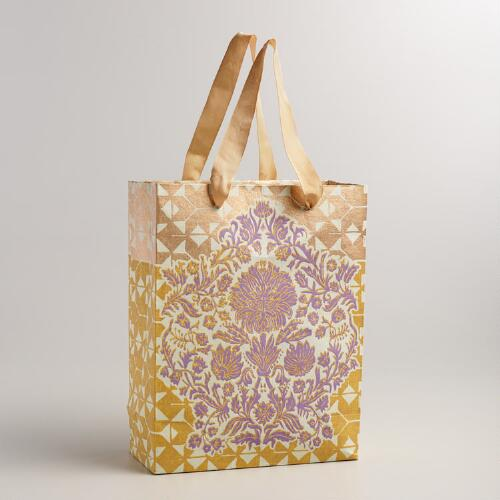 Large Gold and Lavender Floral Handmade Gift Bag
