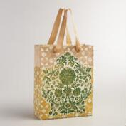 Large Gold and Green Floral Handmade Gift Bag