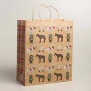 Jumbo Farm Animals Kraft Gift Bag