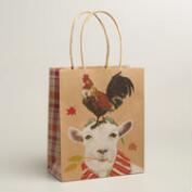 Medium Goat and Chicken Kraft Gift Bags, Set of 2