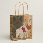 Small Two Alpacas Kraft Gift Bags, Set of 2