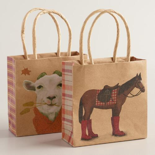 Mini Horse and Goat Kraft Gift Bags, Set of 2
