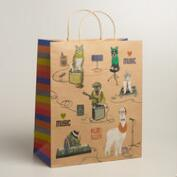 Jumbo Hipster Animals Gift Bag