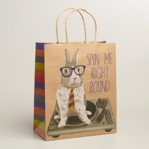 Large Hipster Bunny Gift Bag