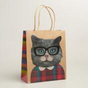 Medium Hipster Cat Gift Bags, Set of 2