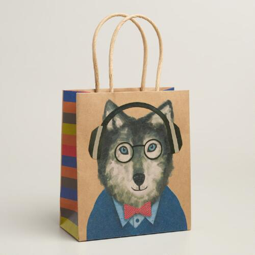 Small Hipster Wolf Gift Bags, Set of 3