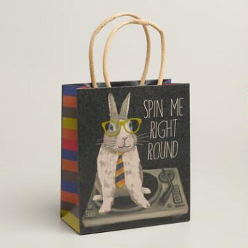 Small Hipster Bunny Gift Bags, Set of 3