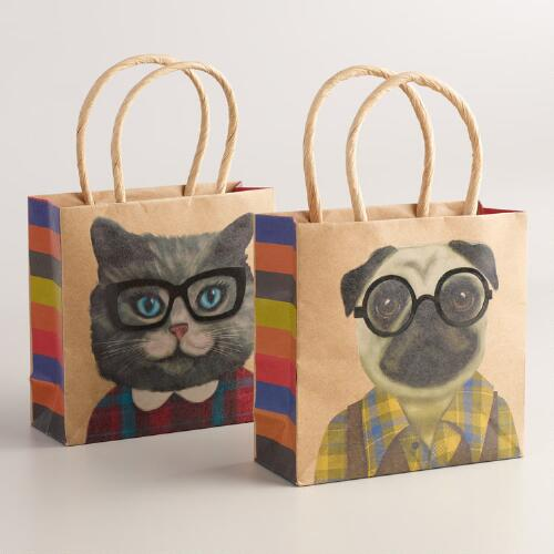 Mini Hipster Animals Gift Bags, Set of 2