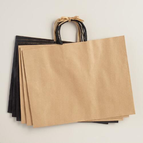 Large Black Kraft Gift Bags, 6-Pack