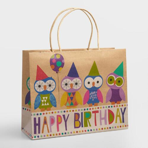 Large Birthday Text Owls Gift Bag