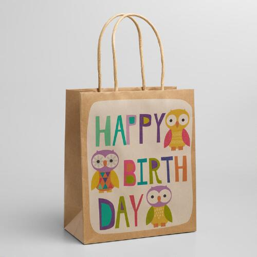 Medium Birthday Text Owls Gift Bags, Set of 2