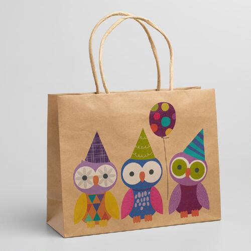 Medium Owls in a Row Gift Bags, Set of 2