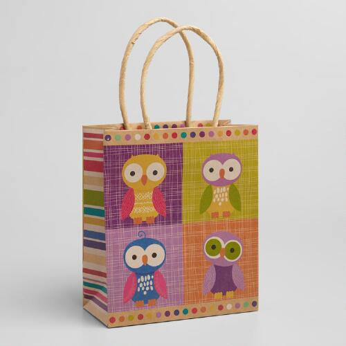 Small Patchwork Owls Gift Bags, Set of 3