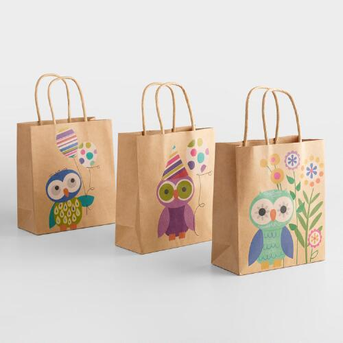Small Birthday Owls Gift Bags, Set of 3