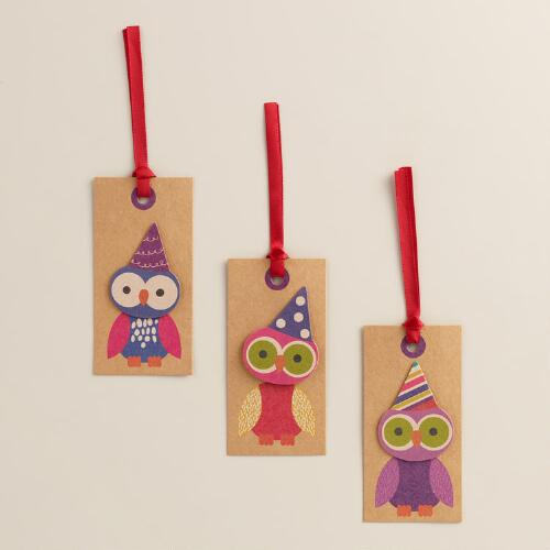 Owl Birthday Gift Tags, Set of 6