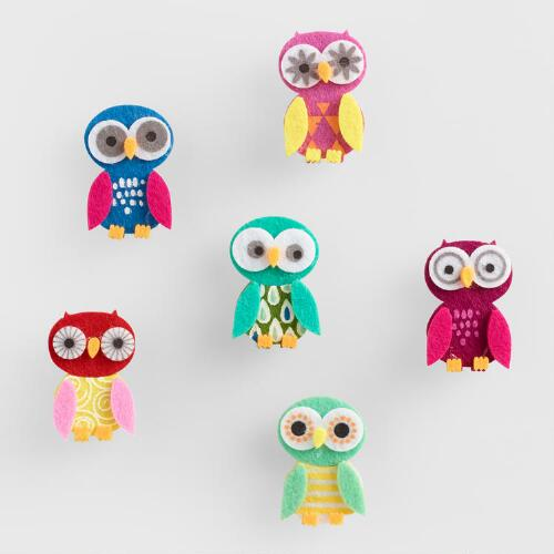 Birthday Owl Clips, Set of 6