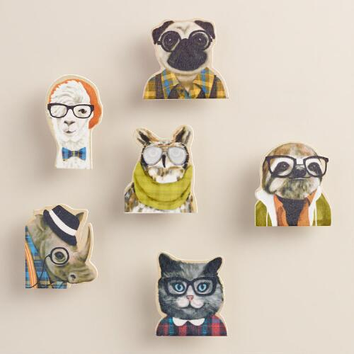 Wood Hipster Animal Clips, Set of 6