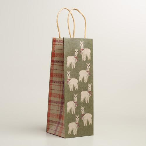 Alpaca Kraft Wine Gift Bags, Set of 2