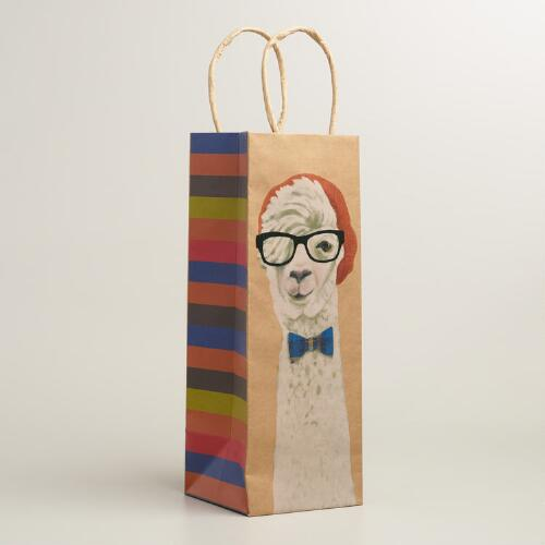 Hipster Llama Kraft Wine Bags, Set of 2