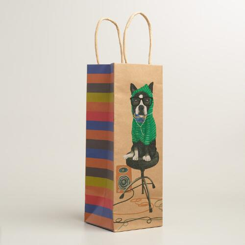 Hipster Terrier Kraft Wine Bags, Set of 2