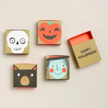 Square Halloween Trinket Boxes, Set of 8