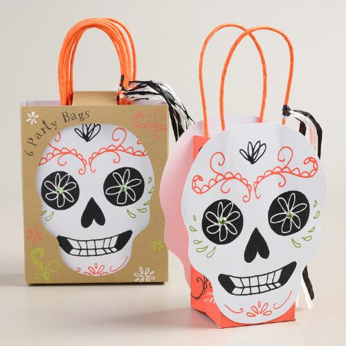 Day of the Dead Skull Halloween Gift Bags, Set of 6