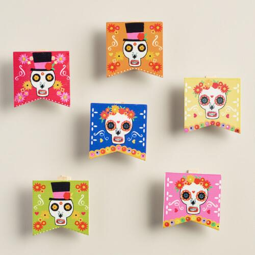 Wood Day of the Dead Clips, Set of 6