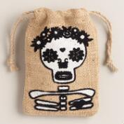 Burlap Skeleton Party Bags, Set of 6