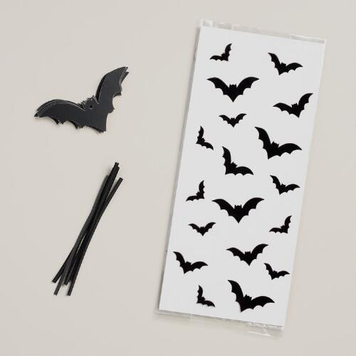 Halloween Cello Bags with Bat Tags, Set of 6