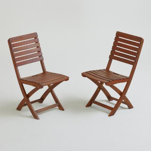 Mika Natural Wood Folding Side Chairs, Set of 2