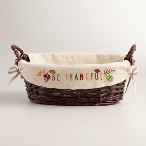 Be Thankful Lined  Basket