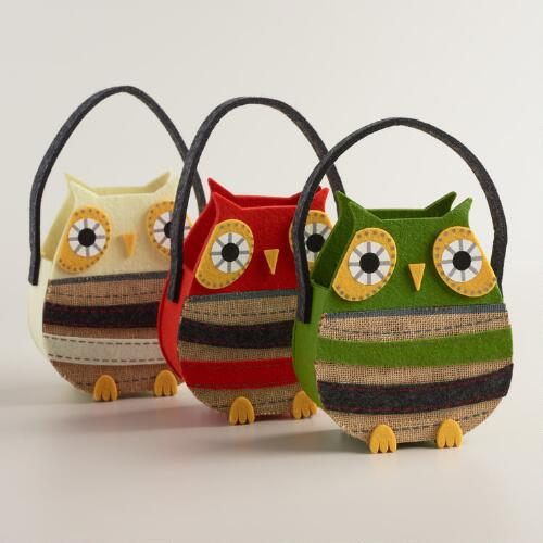 Felt Owl Containers,  Set of 3