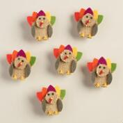 Felt Turkey Clips, Set of 6