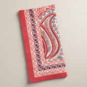 Coral Paisley Escala Napkins, Set of 4
